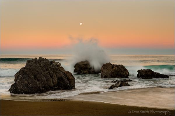 Dawn Moonset, Garapatta State Beach, Big Sur Coast