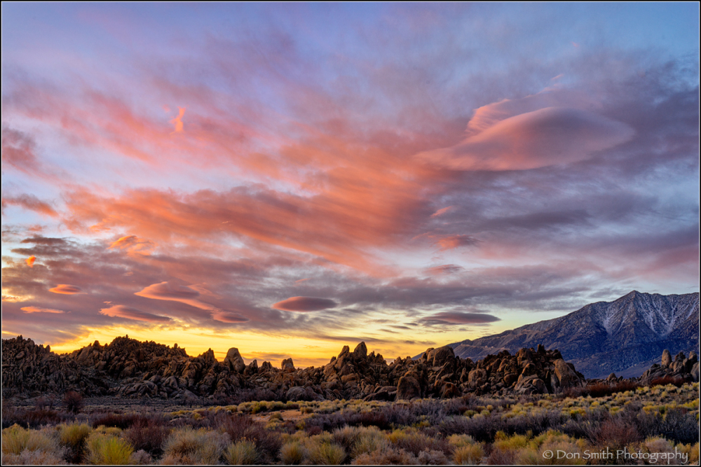 Lenticulars and Dawn Light, Alabama Hills, CA