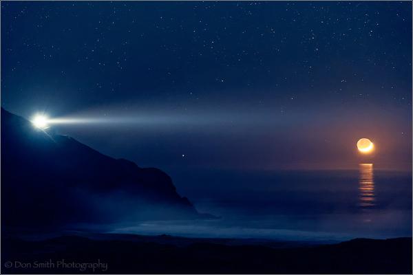 Pt Sur Lightstation and Crescent Moon, Big Sur