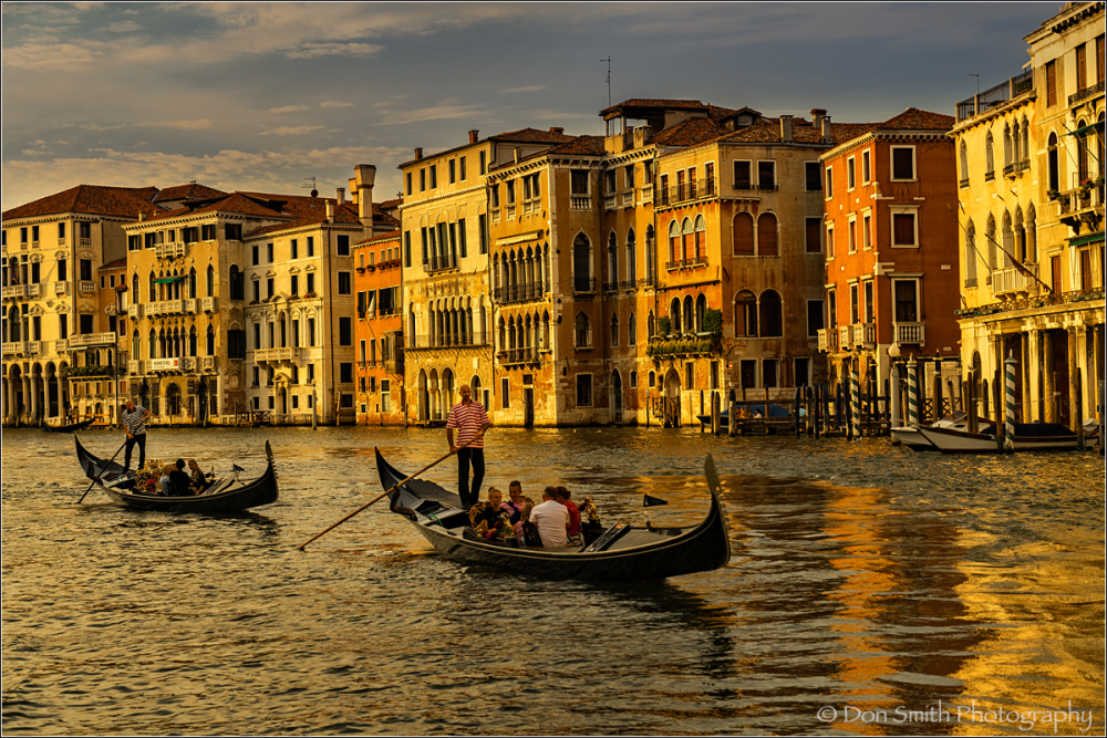 Evening Gondola ride down Grand Canal, Venice
