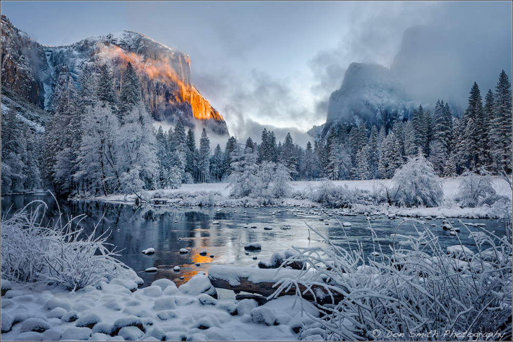 Winter Alpenglow on El Capitan, Yosemite