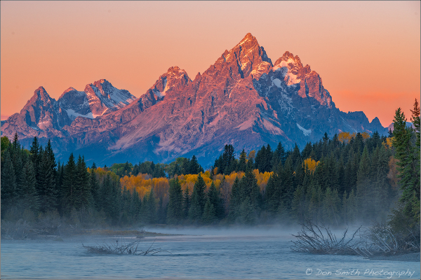First Light on Teton Peak, Grand Teton NP