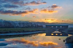 Winter Morning, Wood Covered Bridge, California