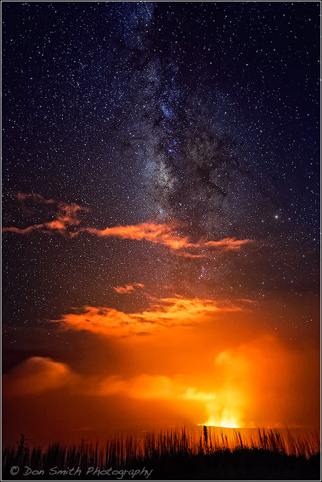 Kilauea Caldera Under the Milky Way, Hawaii