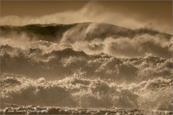 Incoming waves at Mavericks Beach, California