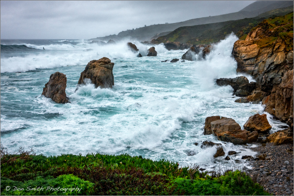 surf, storms, garrapata state par, california