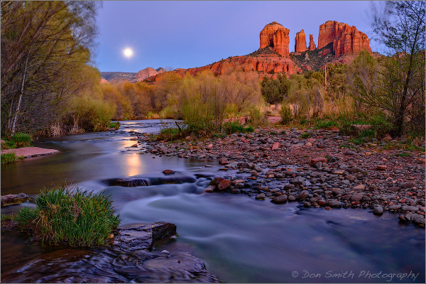 Full Moon at Red Rock Crossing, Sedona, Arizona