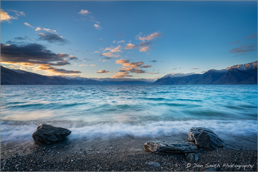 Sunset Lit Clouds Over Lake Hawea, South Island, N