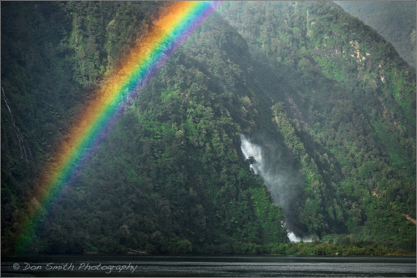 Rainbow and Fall, Doubtful Sound, New Zealand