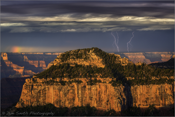 Lighting Stikes and Rainbow, Grand Canyon NP