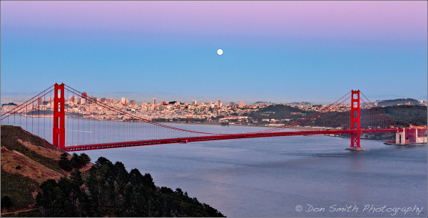 Moonrise Over San Francisco and Golden Gate