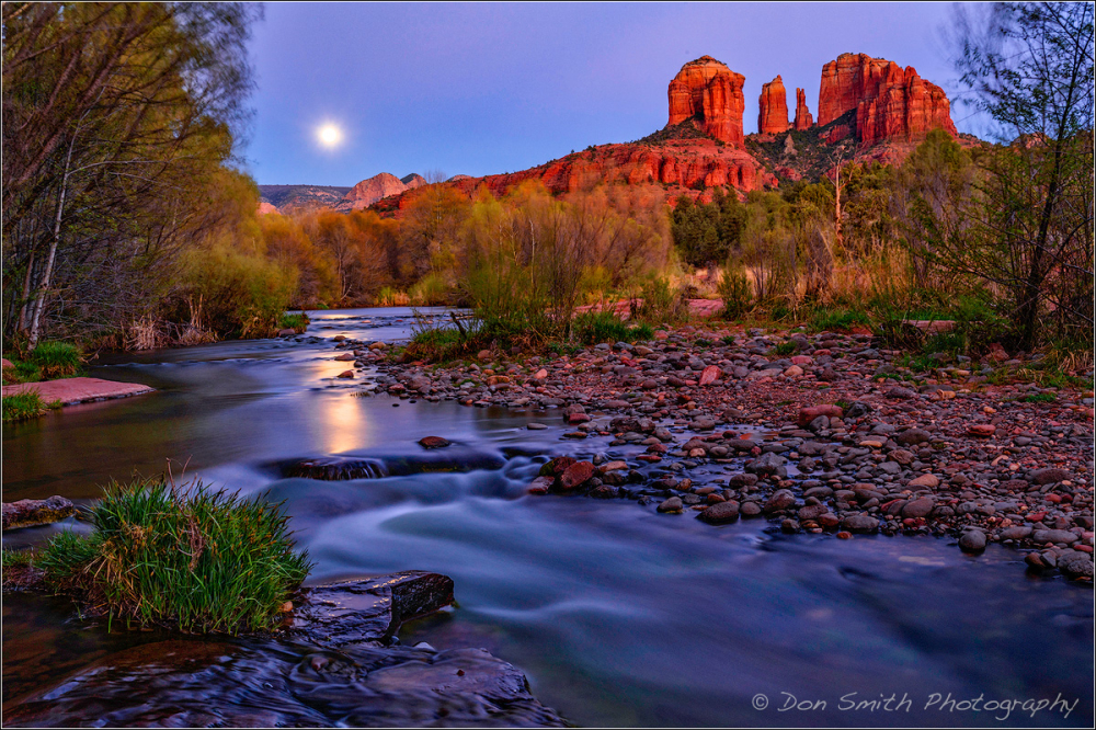 Moonrise Over Oak Creek and Cathedral Rocks