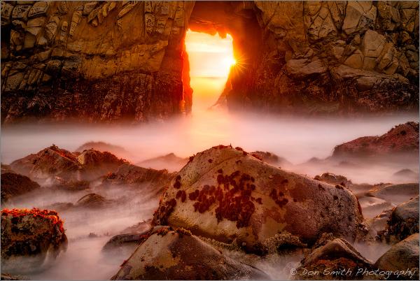 Sunstar Through Keyhole Arch, Big Sur