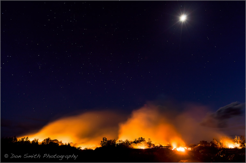 Full Moon Over Lava, Big Island, Hawaii