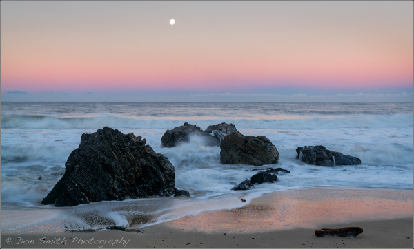 Moonset at Dawn, Big Sur Coast