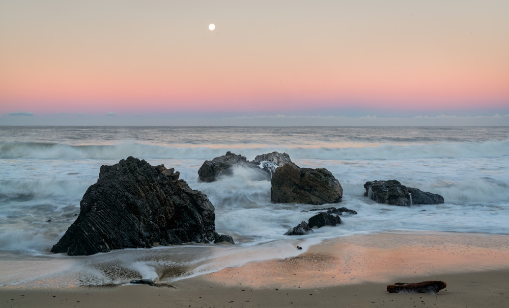 Dawn Moonset, Garrapata State Beach, Big Sur