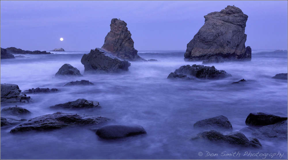 Moonset and Sea Stacks, Big Sur Coast