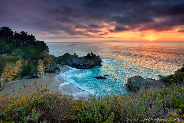 Winter Sunset at McWay Fall, Big Sur Coast