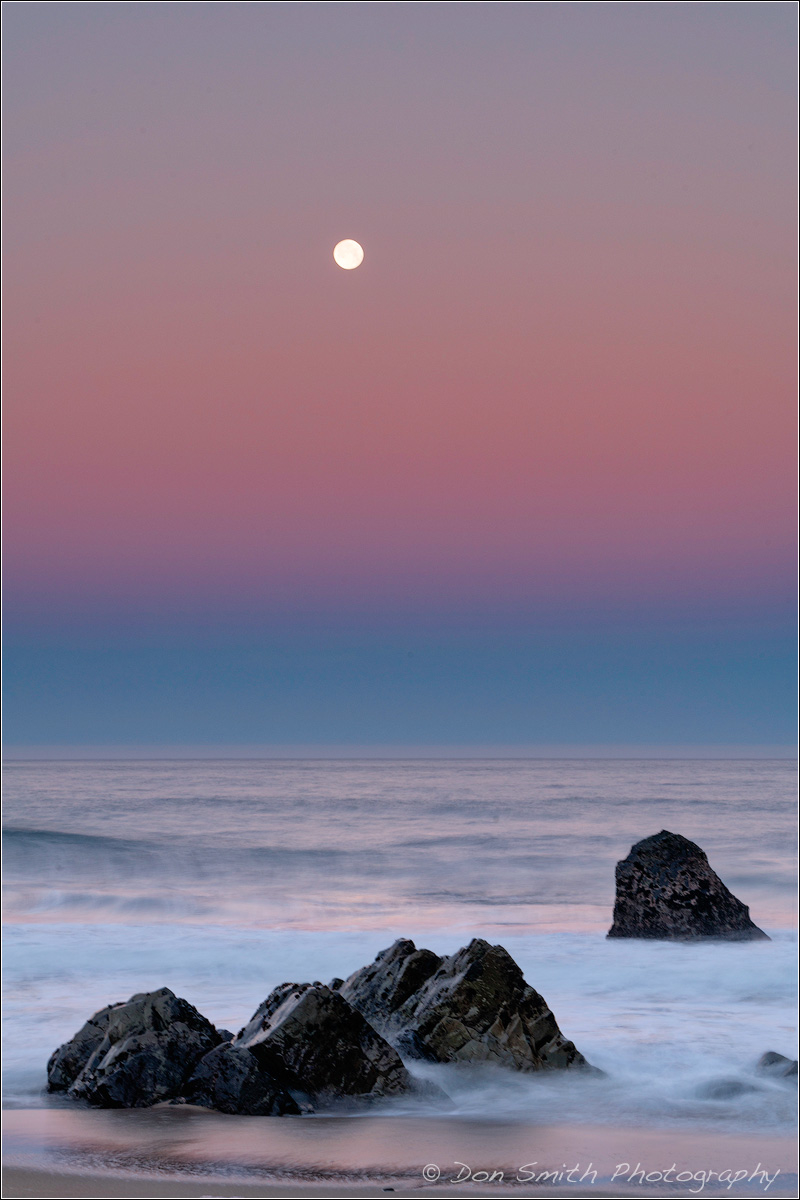 Dawn Moonset, Big Sur Coast