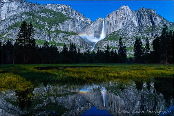 Yosemite Falls Moonbow Reflection