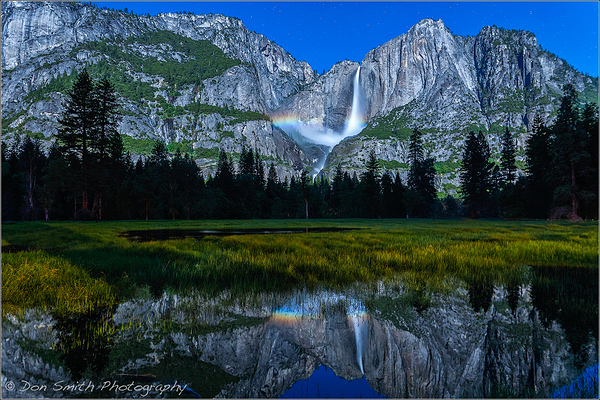 Yosemite Falls Moonbow Reflection
