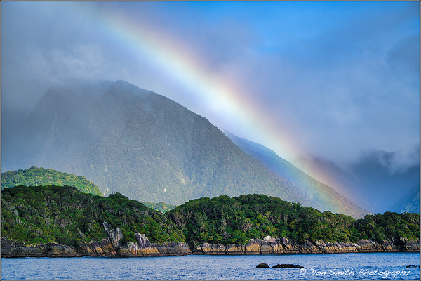 Rainbow Over Doubtful Sound, New Zealand