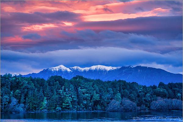Winter Sunset Over Lake Manapouri, New Zealand