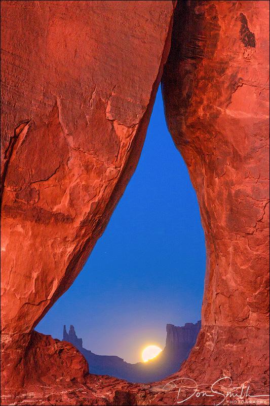 Moonrise Through Teardrop Arch, Monument Valley