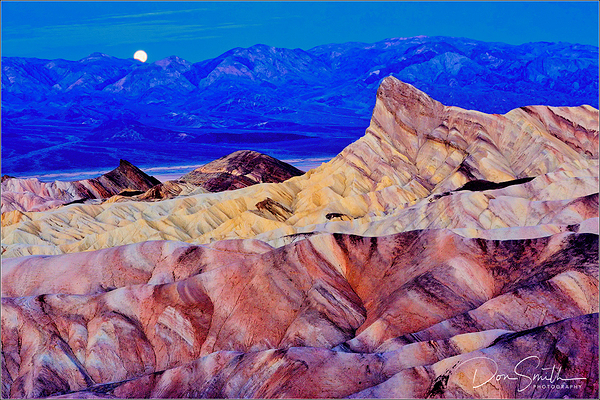 Moonset Over Zabriskie Point, Death Valley