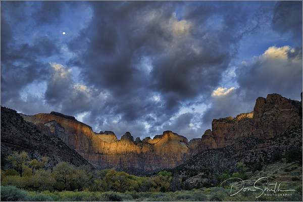 Moonset and Sunrise, Zion National Park.