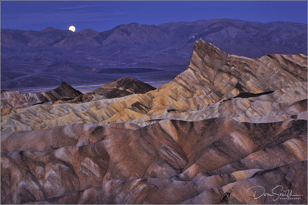 Moonset Over Zabriskie Point, Death Valley Nationa