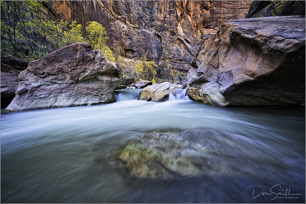 Zion River Flows Through Zion Canyon, Utah