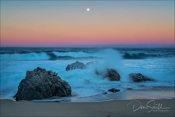 Super Moon Setting Over Big Sur Coast