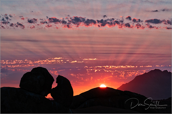 Sunset and Crepuscular Rays, Skitzkoppe, Namibia