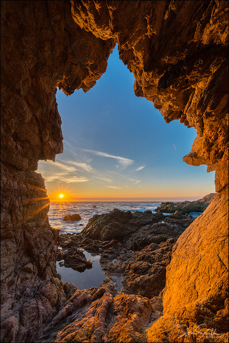 Sea Cave and Setting Sun, Big Sur Coast, CA