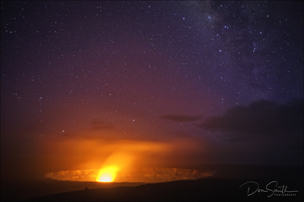Kilauea Volcano and Night Sky