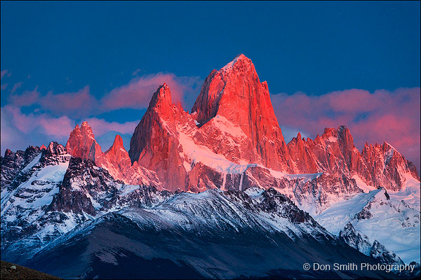 First Light on Mt. Fitzroy, El Chalten, Argentina