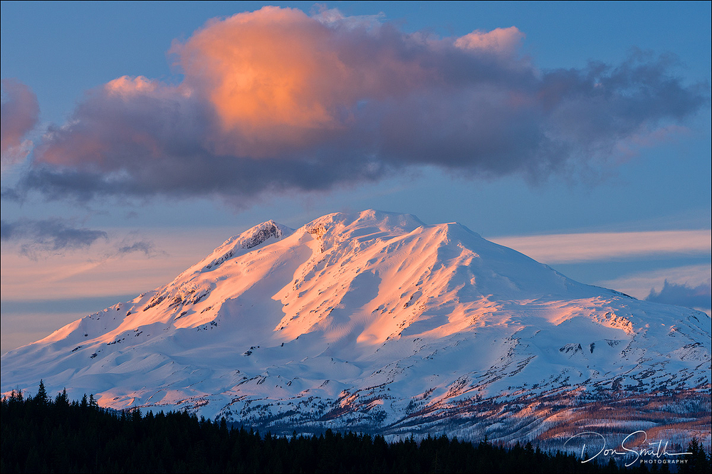 Sunset-Lit Cloud Over Mt. Adams, Washington