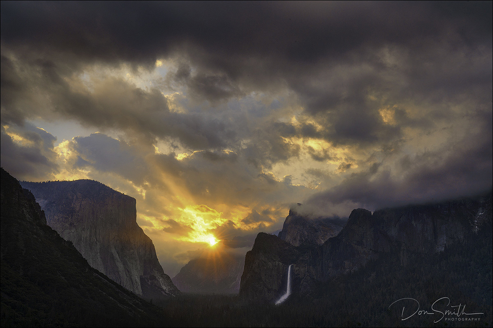 Sunrise Through Clouds, Yosemite National Park