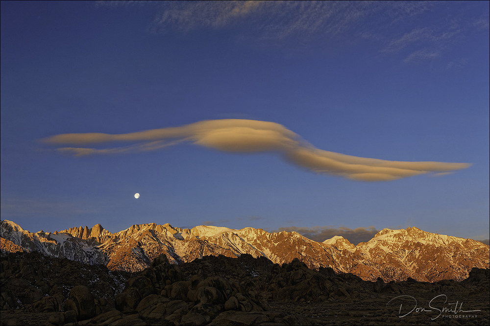 Winged Lenticulars and Setting Moon, Mt. Whitney