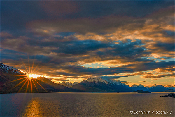 Winter Sunset Over Lake Wakatipu, New Zealand