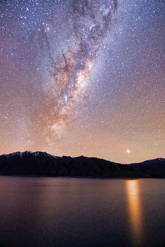 Milky Way and Mars Over Lake Hawea, New Zealand