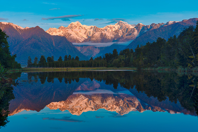 Mt. Tasman and Mt Cook Reflecition, Lake Matheson