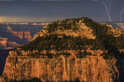 Lightning Bolts and Rainbow at Grand Canyon NP