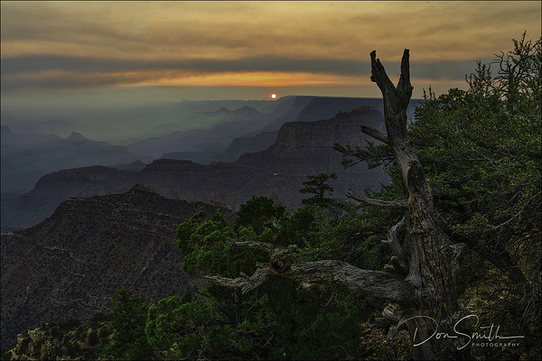 Sunrise and Smoke, Grandview, Grand Canyon NP