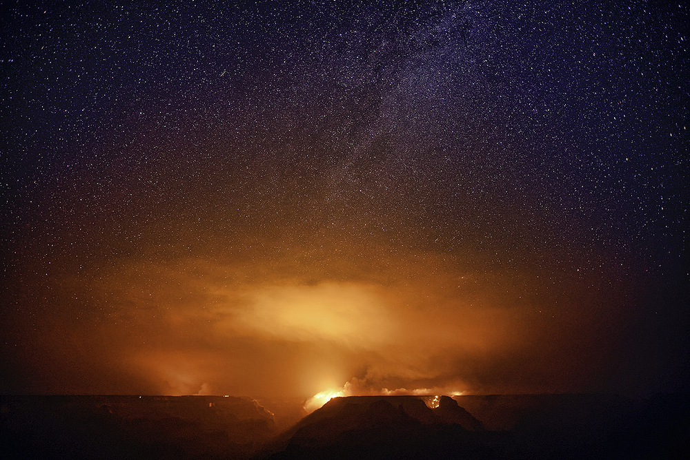 Obi Point Fire and Night Sky, Grand Canyon