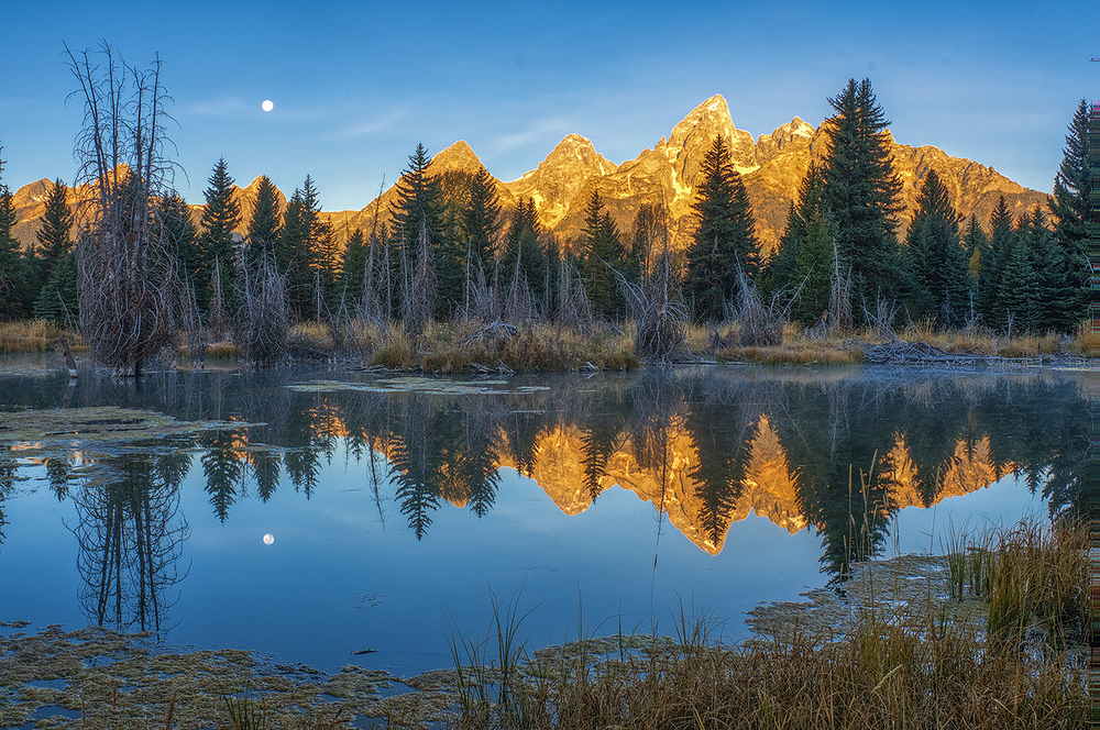 Moonset Over Teton Peaks, Grand Teton NP