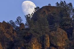 Moonrise Over Pinnacles National Park Western Peak