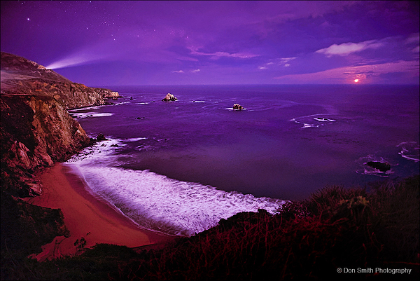 Setting Moon, Big Sur Coast, California