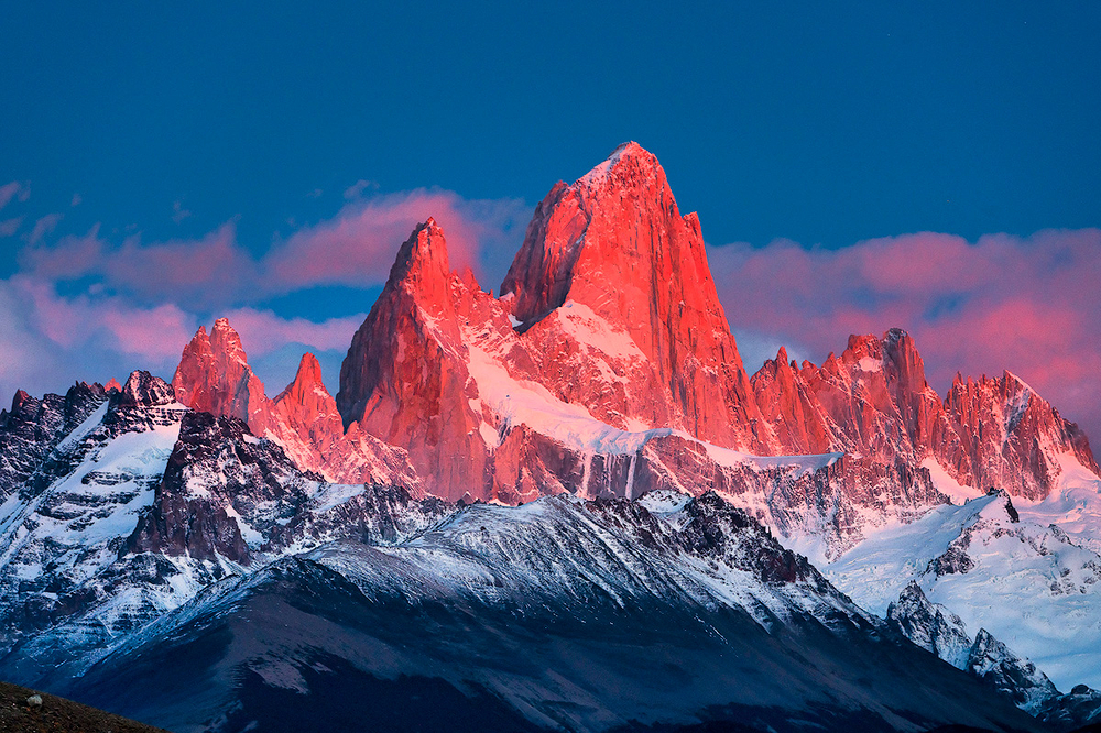 Alpenglow on Mt. Fitzroy, El Chalten, Argentina
